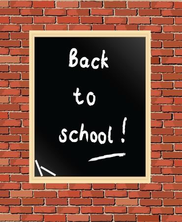 """classroom supplies: """"Volver a la escuela"""", escrito en la pizarra contra el muro de ladrillos. Formato vectorial Vectores"""
