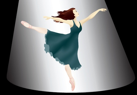 A vector illustration of a Ballerina in the spotlight