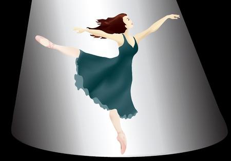 ballet studio: A vector illustration of a Ballerina in the spotlight