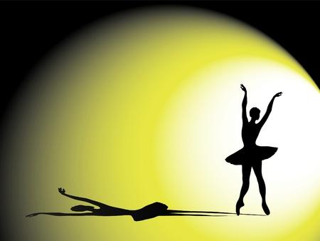 무대에서 발레리나의 벡터 일러스트. 극적인 그림자와 조명 실루엣 일러스트