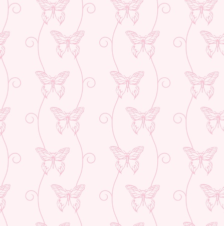 A vector illustration of pink butterflies and swirls. Seamless background. Vector
