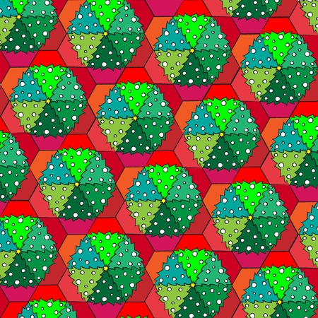 tessellate: A vector illustration of Christmas trees in pots. Repeating pattern tessellation