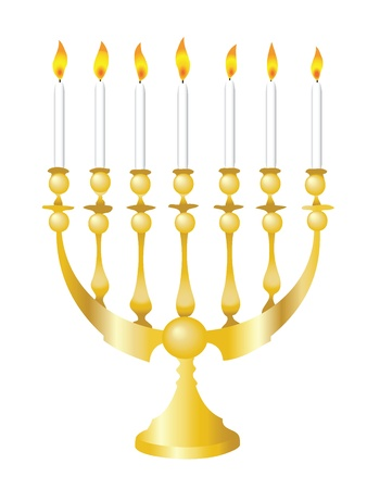 Vector illustration of a Hanukkah Menorah isolated on white Vector