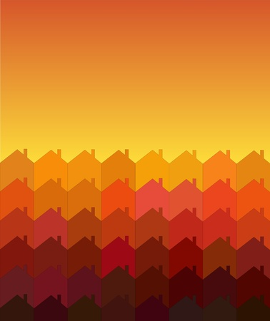 A vector illustration of rows of houses with space for text. Warm shades suggesting sunrisesunset. Tessellation style.