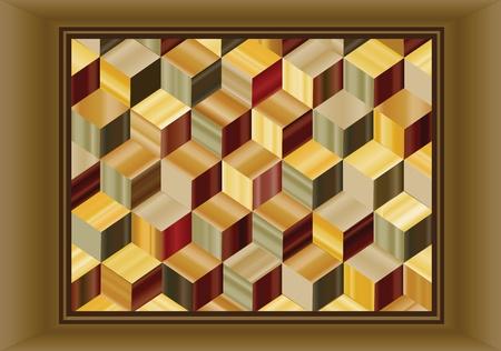 marqueteria: Ilustración del vector que representa a un diseño de marquetería de repetir los cubos en chapas de madera. Vectores