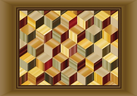 inlay: Vector illustration depicting a marquetry design of repeating cubes in wood veneers.