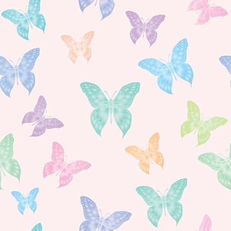 A seamless vector background of butterflies in pastel colours Stock Vector - 10912716