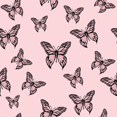 A vector illustration of pink butterflies. Seamless background. Иллюстрация