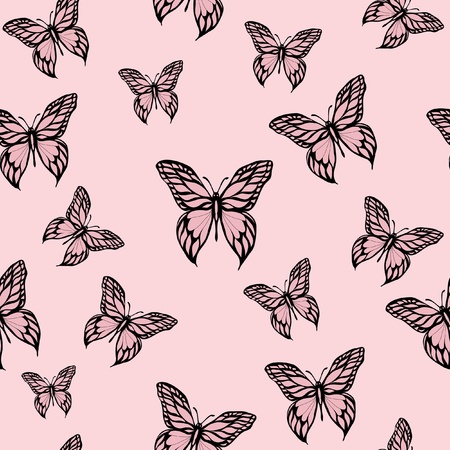 A vector illustration of pink butterflies. Seamless background. Stock Vector - 10912711