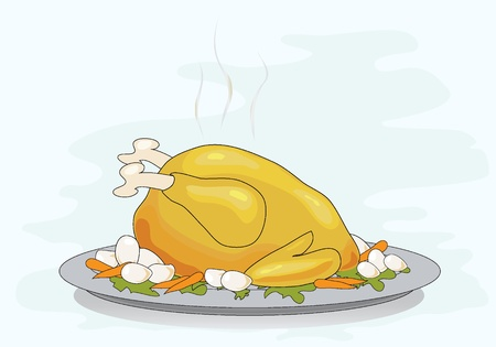 chicken dish: Vector illustration of a roast turkey on a platterwith vegetables