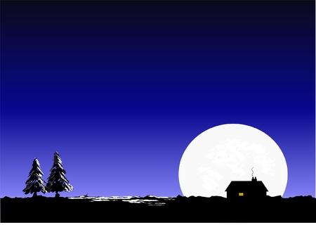 Silent night vector. Sky, moon, house & Christmas tree scene Stock Vector - 10912723