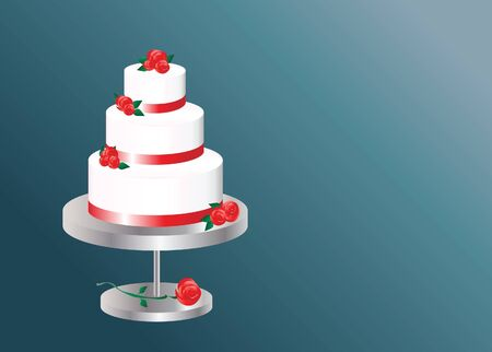 A vector illustration of a  three tier wedding cake with space for text Stock Vector - 10912706