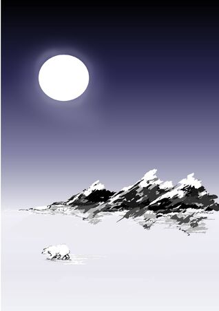 Night sky, snow tipped mountains and polar bear Vector