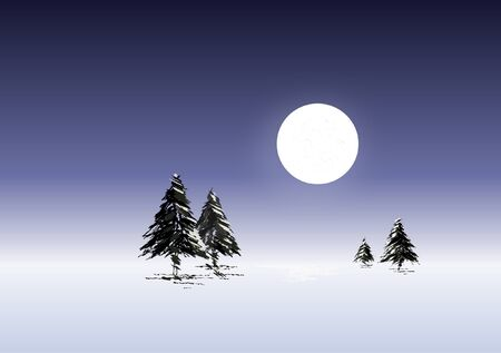 Winter landscape of Christmas trees in the moonlight Stock Vector - 10912721