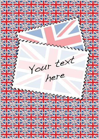 A vector illustration of a sheet of stamps with the Union Jack flag. Space for your text. Vector