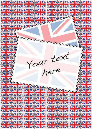 bandera de gran bretaña: Una ilustración vectorial de una hoja de sellos con la bandera Union Jack. Espacio para el texto.
