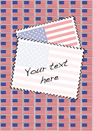 A vector illustration of a sheet of stamps with the USA flag. Space for your text.  Vector