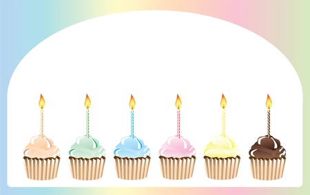 illustraion: a vector illustraion of birthday cupcakes in rainbow shades with space for text