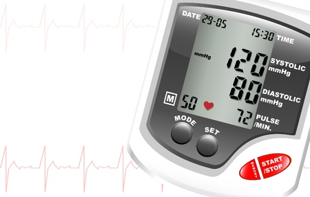 A digital blood pressure monitor against white with space for text. Heartbeat shown in red. Illustration