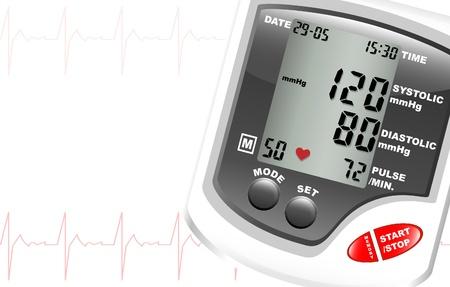 hipertension: Un monitor de presi�n arterial digital, contra el fondo blanco con espacio para texto. Latidos del coraz�n muestran en rojo. Vectores