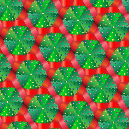 A vector illustration of Christmas trees in pots. Repeating pattern tessellation  Vector