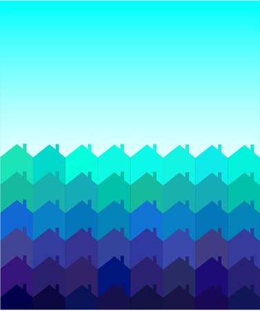 terraced: A vector illustration of rows of houses with space for text. Shades of blue and green. Tessellation style.