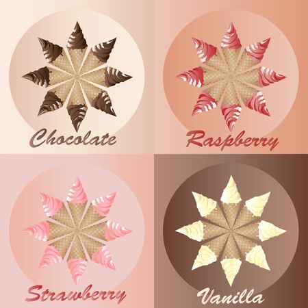 An illustration of ice creams in chocolate, strawberry, raspberry and vanilla. Seamless. Also available in vector format in my portfolio