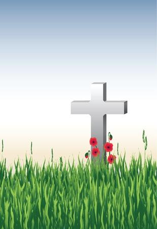 memorial cross: Illustrazione vettoriale di una tomba guerra in erba alta di papaveri.