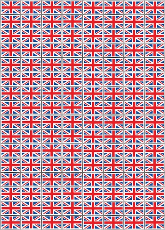 kingdoms: A vector illustration of a sheet of stamps with the Union Jack flag