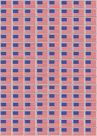 A vector illustration of a sheet of stamps with the USA flag Vector