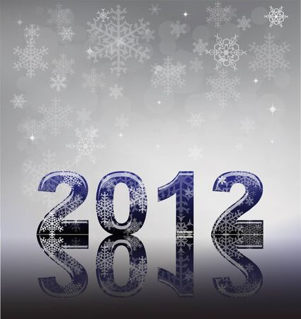 2012 flyer template. 2012 written in glossy letters with snow and reflection on silver snowflake background with space for your text. Vector