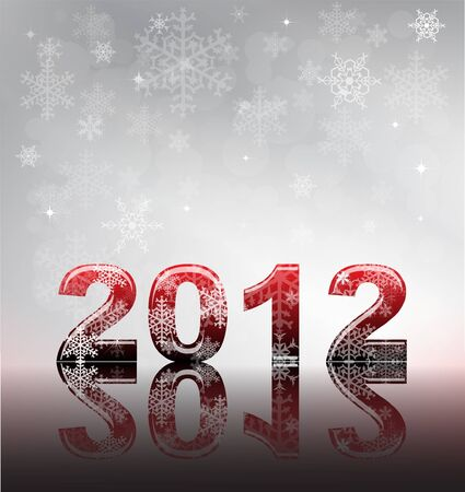2012 flyer template. 2012 written in glossy letters with snow and reflection on silver snowflake background with space for your text.   Stock Vector - 11031755