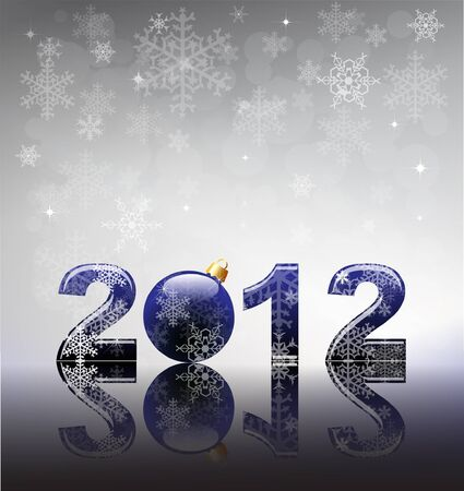 2012 flyer template. 2012 written in blue glossy letters with bauble as the zero. Snow and reflection on silver snowflake background with space for your text. Stock Vector - 11031766