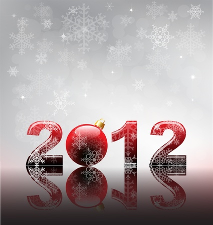 2012 flyer template. 2012 written in glossy letters with bauble as the zero. Snow and reflection on silver snowflake background with space for your text. Stock Vector - 11031765