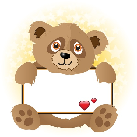 hugs: A cute cartoon bear holding a banner with hearts onsubtle star background.  Illustration