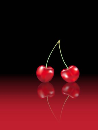 sappy: Photo-realistic cherries with reflection on red and black background