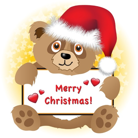 A cute cartoon Christmas bear with Santa hat holding a Merry Christmas banner with hearts Subtle star background. Vector
