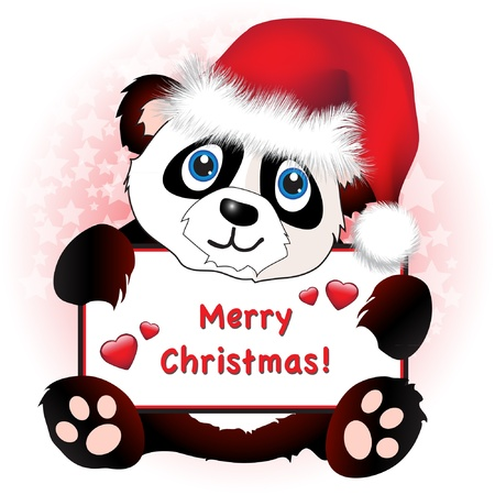 A cute cartoon panda wearing a Santa hat holding a banner with hearts and Merry Christmas wishes. Subtle star background.  Vector