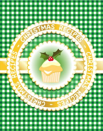 Gingham Christmas recipe book cover with cupcake and holly.  Vector