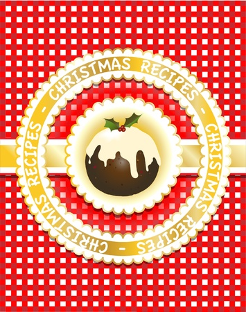 recipe card: Gingham Christmas recipe book cover with traditional fig pudding. Scrapbook style.