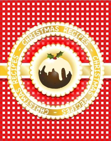 vanilla pudding: Gingham receta de Navidad libro de tapa con el pud�n de la figura tradicional. �lbum de recortes estilo. Vectores