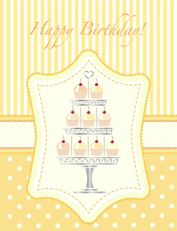 A stencil style silver cake stand full of cherry cupcakes. Birthday card template.  Vector