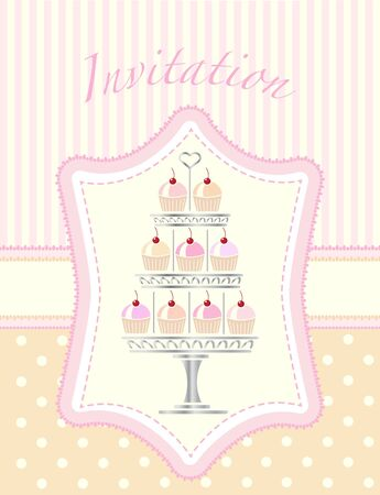 A stencil style silver cake stand full of cherry cupcakes. Suitable for wedding or party invitations.  Illustration