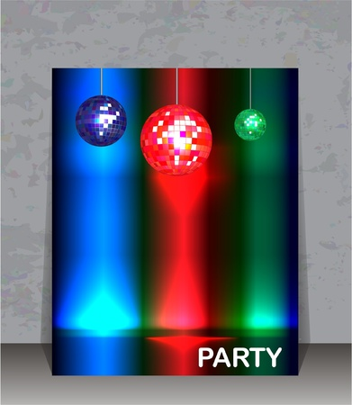 Party flyer template. Disco ball party background with space for your text.  Vector