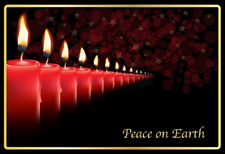 A row of photo realistic candles on a Christmas card template. Vector