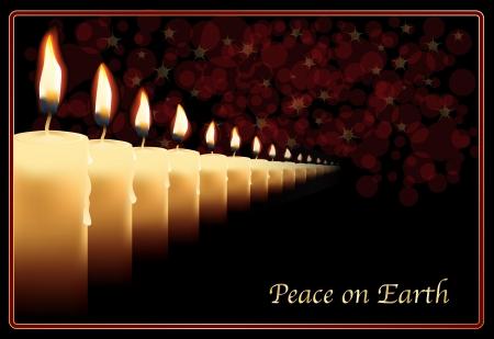 luz de velas: Una hilera de velas foto realistas en una plantilla de tarjeta de Navidad.