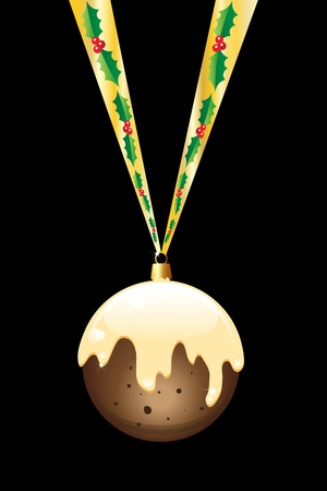 A Christmas pudding bauble hanging on a gold ribbon with holly. Isolated on black