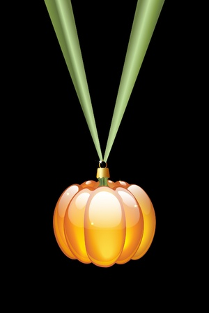 A pumpkin Christmas style glass bauble hanging on a green ribbon. Isolated on black. Alternative Halloween or Thanksgiving decoration Vector