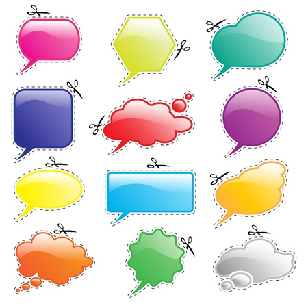 Glossy speech and think bubbles in bright colours with cutout lines and scissors.  Vector