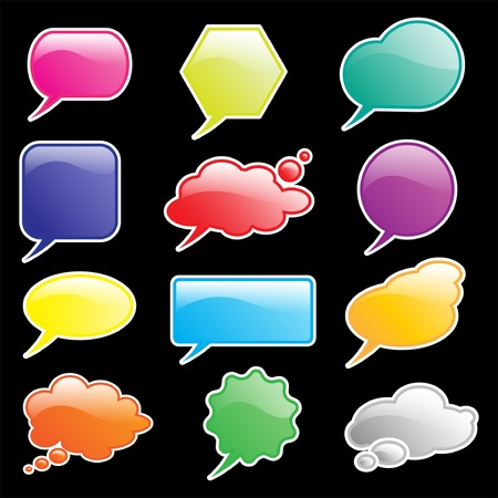 your text: Glossy speech and think bubbles isolated on black. Space for your text.  Illustration